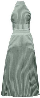 Balmain Lame Knit Halter Pleated Dress
