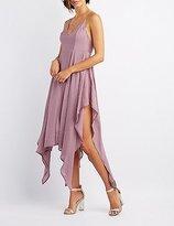 Charlotte Russe Satin Handkerchief Hem Maxi Dress