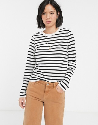 Weekday Kate striped long sleeved t-shirt-Black