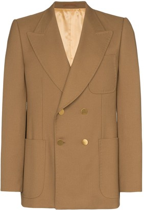 Gucci double-breasted exposed stitch blazer