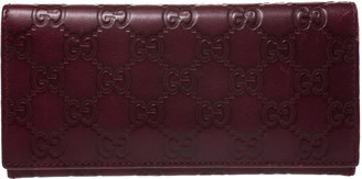 Gucci Burgundy Guccissima Leather Flap Continental Wallet