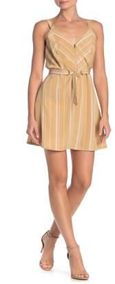 KENEDIK Striped Zip Front Fit & Flare Mini Dress