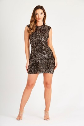 Skirt & Stiletto Black & Copper Sequin Backless Dress