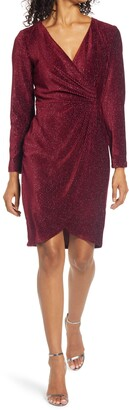 Julia Jordan Velvet Ribbing Foil Long Sleeve Dress