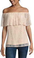 BELLE + SKY Short Sleeve Lace Off The Shoulder Top
