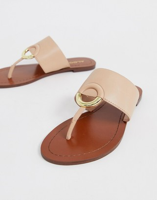 Aldo Ocericia leather ring post sandals in beige