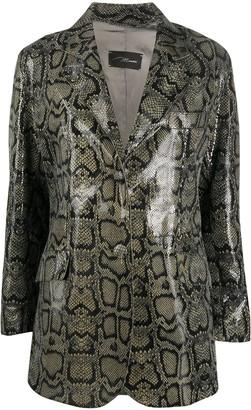 Manokhi Python-Print Leather Jacket
