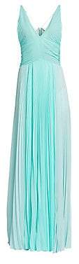 TRE by Natalie Ratabesi Women's Plisse Chiffon Spaghetti Strap Side Slit A-Line Gown