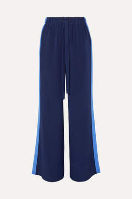 Diane von Furstenberg Ellington Striped Silk-crepe Wide-leg Pants - Navy