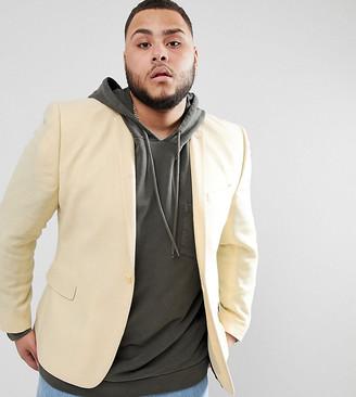 Asos Design DESIGN Plus super skinny texture blazer in lemon wool mix-Yellow
