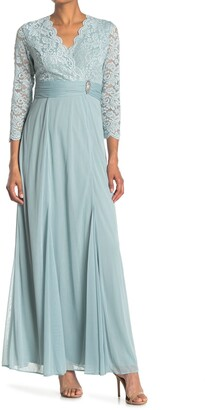 Marina Lace Scalloped Neckline Gown
