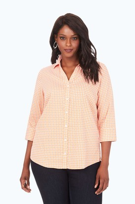 Foxcroft Plus Size Womens Mary Medallion Wrinkle Free Shirt