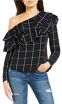 WAYF Everett One Shoulder Ruffle Grid Print Blouse