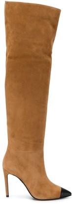 Grey Mer Knee-High Suede Boots