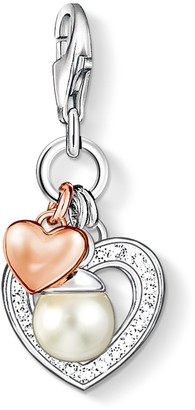Thomas Sabo Women-Charm Pendant Heart Charm Club 925 Sterling Silver 18k rose gold plating Zirconia white Freshwater Pearl 0937-426-14