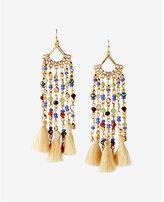 Express beaded tassel fringe drop earrings