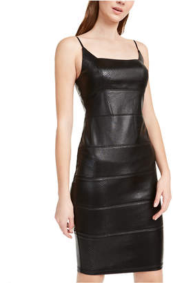 Bebe Snake-Embossed Faux-Leather Bandage Dress