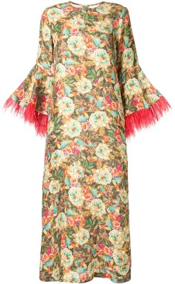 Bambah Camelia feather trim kaftan dress