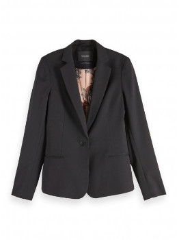 Maison Scotch Black Polyester Tailored Blazer - Med | polyester | black - Black/Black