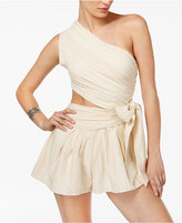 Free People Hot Chip Cotton Stitch-Print One-Shoulder Romper