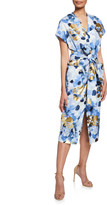 Lela Rose Belted V-Neck Floral Dress with Pockets
