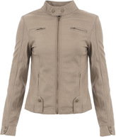 Missy Empire Olivia Beige Zip Up Biker Jacket