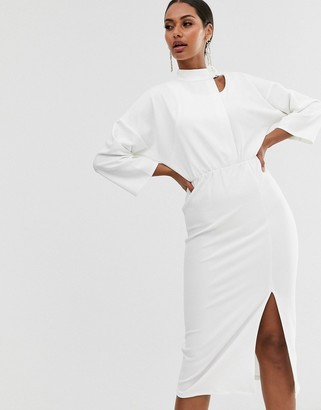 Asos Design DESIGN midi dress with asymmetric buckle neck-White