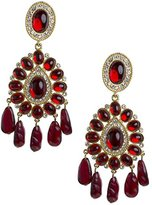 Kenneth Jay Lane Women's Gold Plated Oval Ruby Cabochon Clip Earrings
