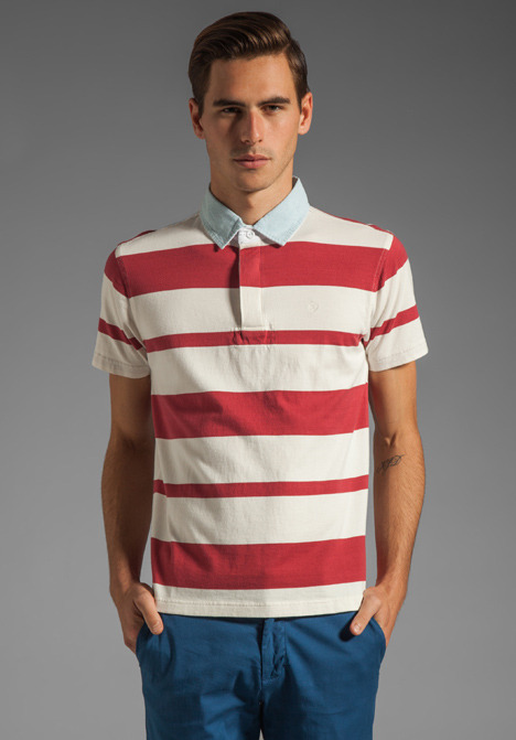 Gant Awning Stripe Heavy Rugger Polo in Red/White