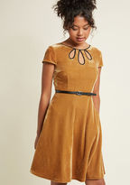 ModCloth Tri-Keyhole A-Line Dress in Gold in L