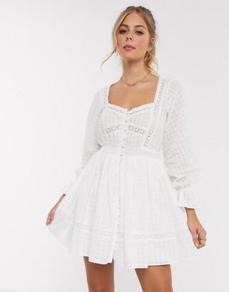 ASOS DESIGN button through lace insert mini dress with elasticated waist in white