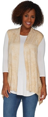 Logo by Lori Goldstein Distressed Print Open Front Vest