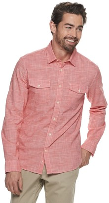 Apt. 9 Men's Untucked Regular-Fit Crosshatch 2-Pocket Button-Down Shirt