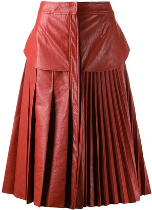 Cédric Charlier Faux Leather Pleated Skirt