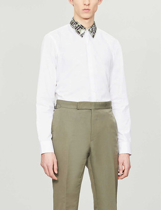 Fendi Branded-collar slim-fit cotton shirt
