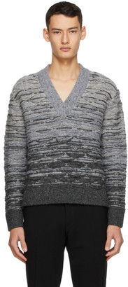 Sean Suen Grey Quilted V-Neck Sweater