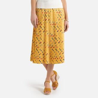 Anne Weyburn Floral Print Plisse Skirt
