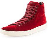 Tom Ford Russel Velvet High-Top Sneaker, Red