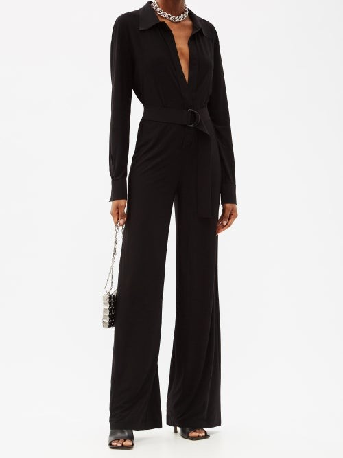 Thumbnail for your product : Norma Kamali Belted Jersey Straight-leg Jumpsuit - Black