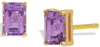 Savvy Cie 18K Yellow Gold Vermeil Emerald Cut Amethyst Stud Earrings