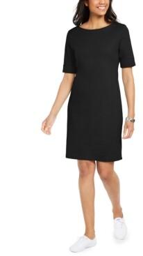 Karen Scott Cotton Cuffed-Sleeve Dress, In Regular and Petite, Created for Macy's