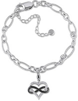 Julie Leah Sterling Silver Heart Infinity Charm Bracelet with Diamond Accents
