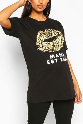 boohoo Maternity Leopard Lip Print Mama Est 2020 Tshirt
