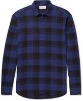 Saint Laurent - Distressed Checked Brushed Cotton Shirt