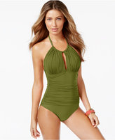 Kenneth Cole Ruched Halter One-Piece Swimsuit