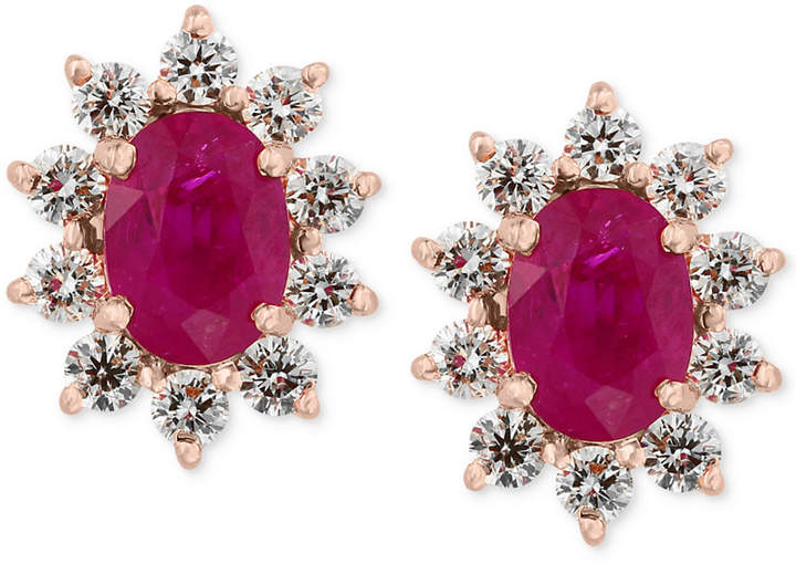 Effy Amore by Certified Ruby (1-9/10 ct. t.w.) and Diamond (3/4 ct. t.w.) Earrings in 14k Rose Gold, Created for Macy's