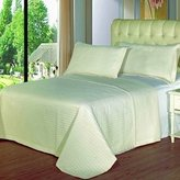 7PC Coverlet Bedding Set, Includes 3PC King Size Ivory Checkered Quilted Wrinkle Free Microfiber Coverlet Set,100% Microfiber and 4PC matching sheet set. ***Solid or Stripes sheets depending on availability***