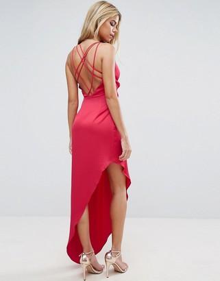 Asos Design Strap Back Asymmetric Hem Maxi Dress-Red