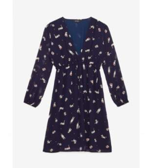 Ottod'ame Ottod'Ame - Blue Polyester Cat Print MCI Tunic Dress - medium | polyester | blue - Blue/Blue