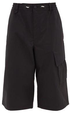 Y-3 Patch-pocket Cotton-blend Canvas Shorts - Mens - Black